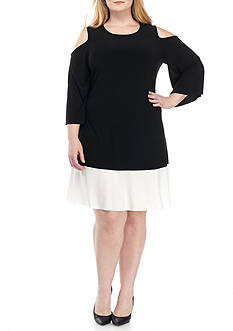 Tiana B Plus Size Cold-Shoulder Trapeze Dress