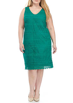 Tiana B Plus Size Crochet Sheath Dress