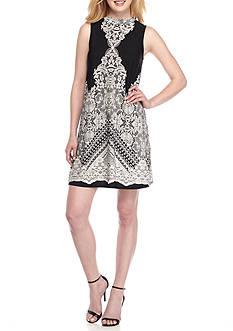 Tiana B Printed Mock-Neck Trapeze Dress