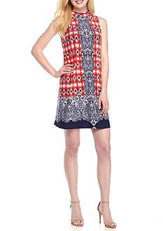 Tiana B Mock Neck Printed Trapeze Dress