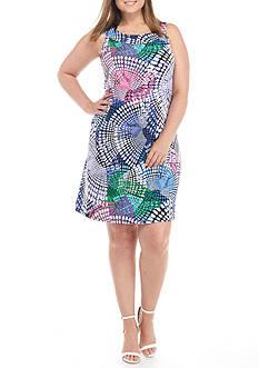 Tiana B Plus Size Circle Print Trapeze Dress