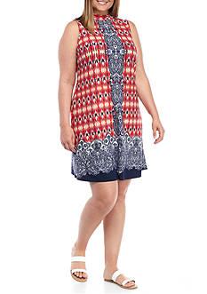 Tiana B Plus Size Printed Mock-Neck Trapeze Dress