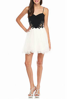 Blondie Nites Bead Embellished Applique Bodice Party Dress