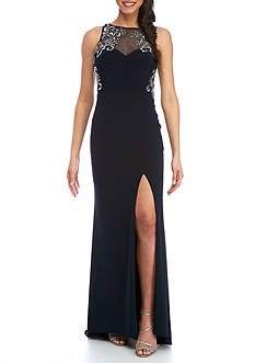 Blondie Nites Beaded Sheer Sleeveless Gown