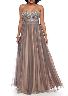 Blondie Nites Strapless Beaded Tulle Gown