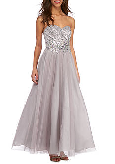 Blondie Nites Strapless Beaded Bodice Gown