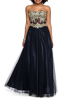 Blondie Nites Embroidered Tulle Skirt Gown