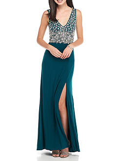 Blondie Nites Beaded Bodice Jersey Gown