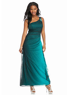 Blondie Nites One Shoulder Ombre Gown with Glitter