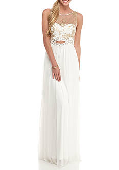 Blondie Nites Sequin and Beaded Bodice Chiffon Gown