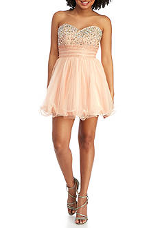 Blondie Nites Strapless Beaded Fit and Flare Dress