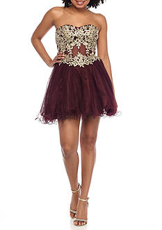 Blondie Nites Strapless Embroidered Mesh Dress