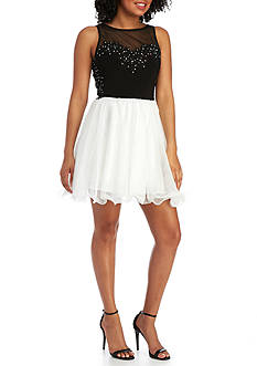 Blondie Nites Beaded Illusion Sleeveless Dress