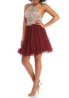 Blondie Nites Rhinestone Mesh Fit-and-Flare Dress