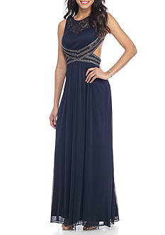 Blondie Nites Lace and Chiffon Bead Embellished Gown