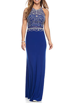 Blondie Nites Beaded Illusion Waist Long Dress