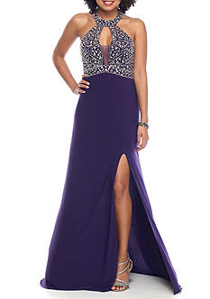 Blondie Nites Beaded Halter Gown