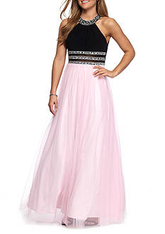 Blondie Nites Halter Beaded Gown
