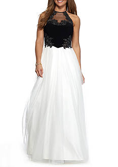 Blondie Nites Halter Gown with Tulle Skirt