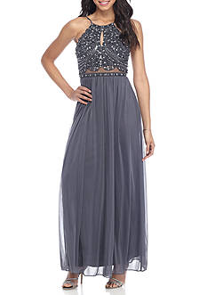 Blondie Nites Bead Embellished Chiffon Gown
