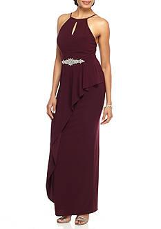Blondie Nites Embellished Waist Halter Gown