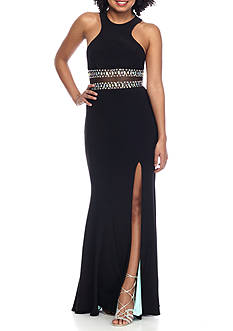 Blondie Nites Beaded Illusion Waist Gown