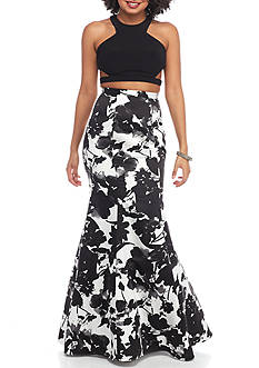 Blondie Nites Two-Piece Cutout Gown