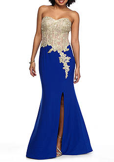 Blondie Nites Gilded Top and Royal Skirt Gown