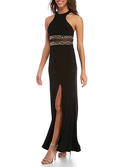 Blondie Nites Long Beaded Waist Gown