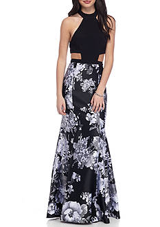 Blondie Nites Floral Mock Neck Gown