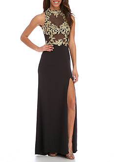Blondie Nites Long Illusion Applique Gown