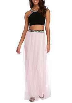 Blondie Nites Halter Beaded Two Piece Dress