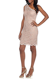 Morgan & Co One Shoulder Scallop Detail Dress