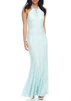 Morgan & Co Halter Beaded Gown