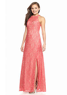 Morgan & Co Glitter Lace Halter Gown