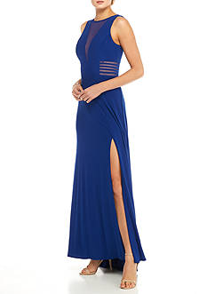 Morgan & Co Mesh Inset Jersey Gown