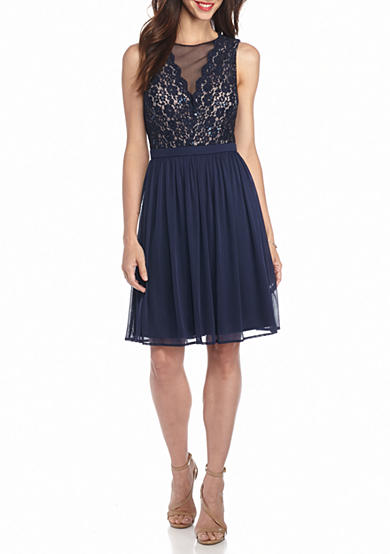 Morgan & Co Lace with Glitter and Sequin Bodice Party Dress