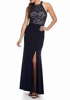 Morgan & Co Glitter Lace Bodice Halter Gown