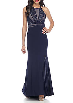 Morgan & Co Lace and Sequin Bodice Jersey Halter Gown