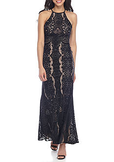 Morgan & Co Lace Halter Gown