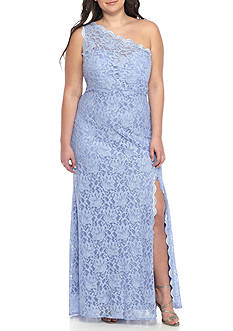 Morgan & Co Plus Size One Shoulder Glitter Lace Gown