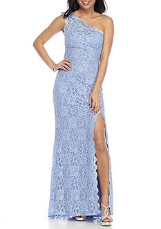 Morgan & Co One Shoulder Glitter Lace Gown