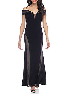 Morgan & Co Off the Shoulder Jersey Gown