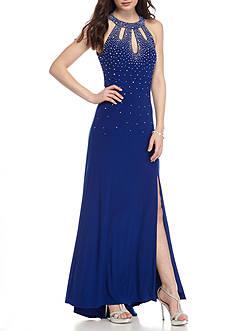 Nightway Bead Embellished Halter Gown