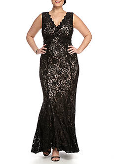 Nightway Plus Size Lace and Sequin Gown