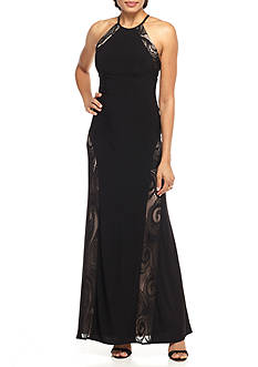 Nightway Lace Inset Jersey Halter Gown