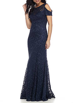 Nightway Lace Cold Shoulder Gown