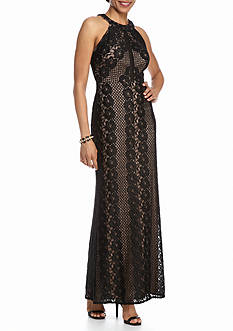 Nightway Glitter Lace Halter Gown