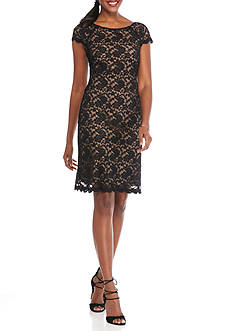 Connected Apparel Floral Lace Sheath Dress