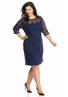 Connected Apparel Plus Size Allover Lace Sheath Dress